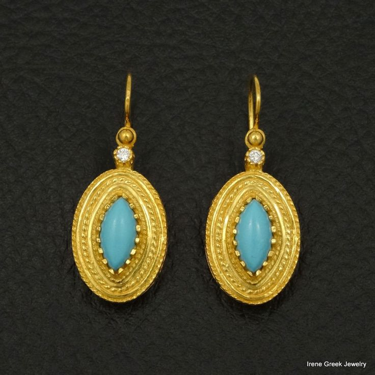 LUXURY TURQUOISE ETRUSCAN 925 STERLING SILVER 22K GOLD PLATED GREEK ART EARRINGS #IreneGreekJewelry #DropDangle