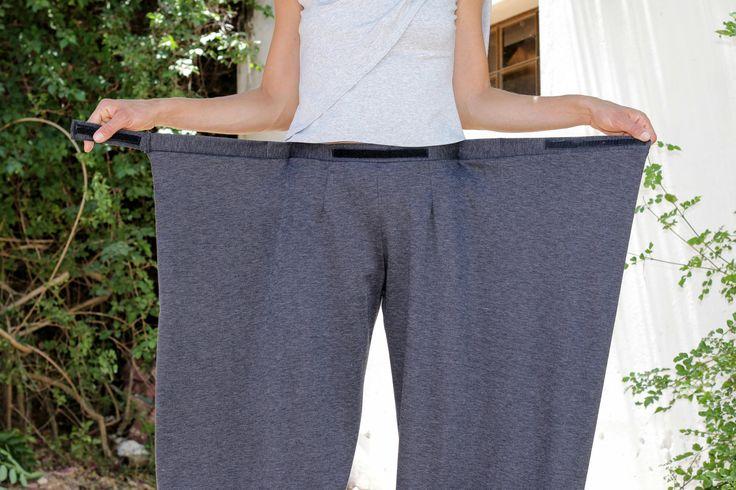 Unique gris pantalon Pantalon-Origami de femmes / 4 façon