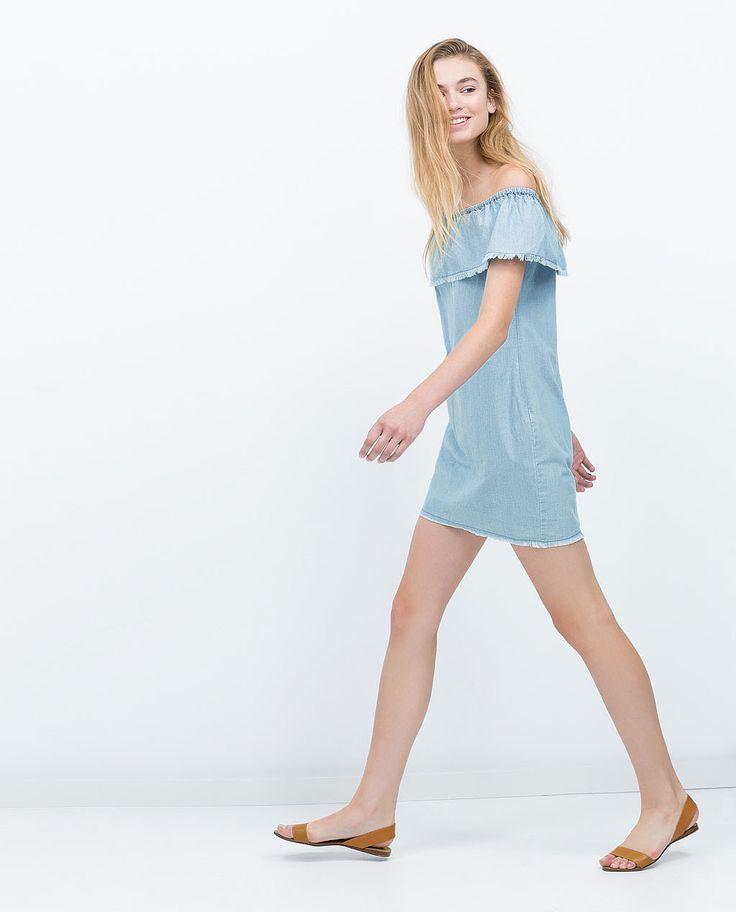 Zara Chambray-Kleid mit Volants (30 €)