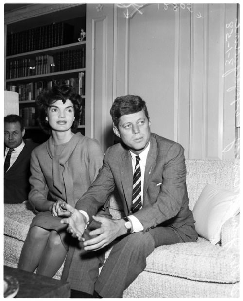 Senator Kennedy and wife Jacqueline during an interview, March 1, 1958.