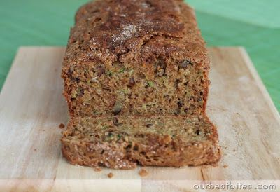 Zucchini Bread - Our Best Bites  Lovely moist cakey 'bread'. Used baking powder and still rose fine; substituted zucchini for yellow summer squash.  Can be used for muffins - makes approx. 2 dozen