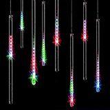 Minger LED Lichterkette Bunt 30cm Meteorschauer Röhren 8 Tube 144 LEDs 100V-240V Deko Leuchten LED für Außen Garten Bäume Weihnachten Dekoration EU Stecker (Bunt)