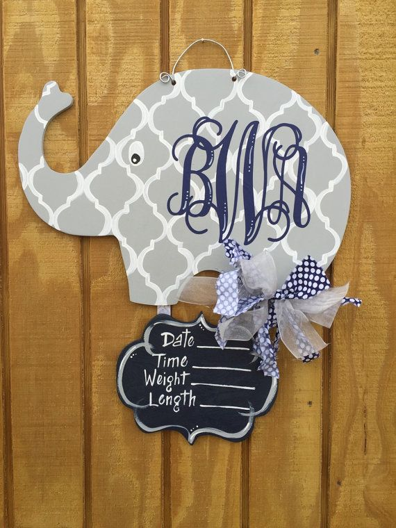 Baby Elephant Nursery/Hospital Door Hanger by craftigirlcreations