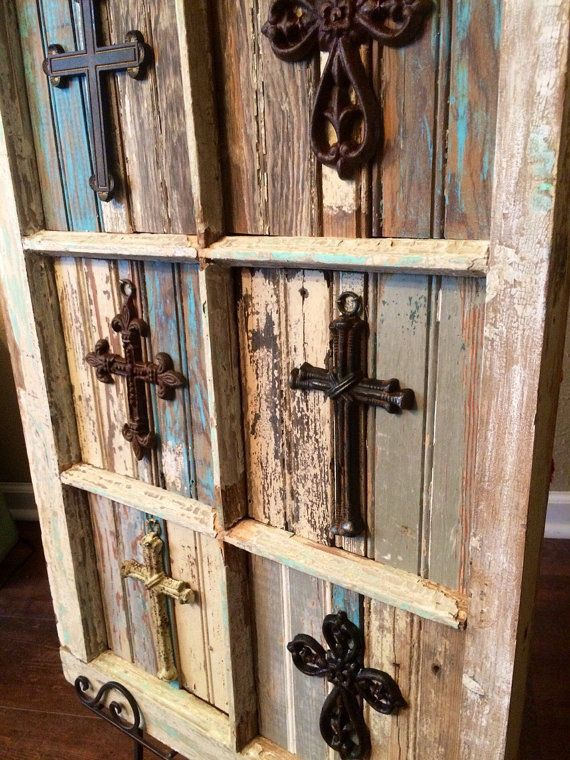 Rustic Crosses Placed on Salvaged Antique Window by JustMeandMom