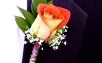 Grooms orange rose boutonniere.