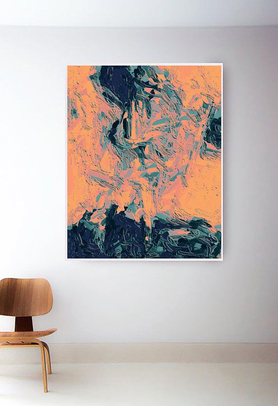 Blue Orange Black Teal Banana Abstract Canvas Wall Art Picture Prints