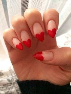 Heart Tip Nails for more images and tutorials visit - http://www.ellahays.com/fake-nail-designs/ #fakenails #fakenaildesigns #acrylicnaildesigns