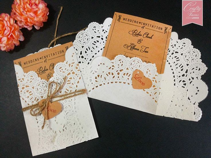 paper doilies cream colored | wedding card printing with doilies paper and brown string