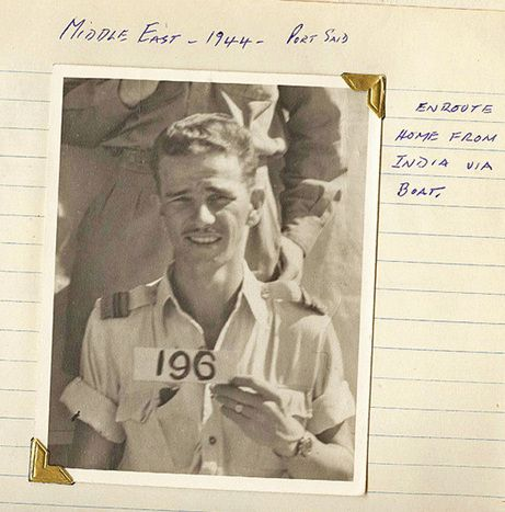 Jim Ashworth of British Columbia on his way home from India in 1944, after serving with RAF 20 Squadron flying a Hurricane over occupied Burma.