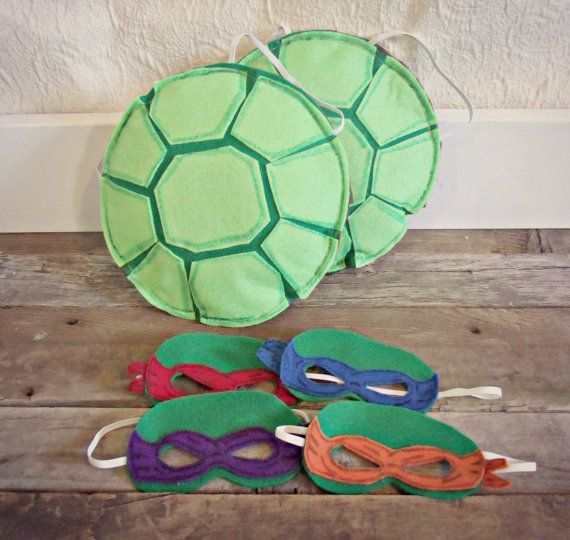 shell is made from felt and is lightly stuffed to add dimension.  - Toddler TMNT Ninja turtle inspired shell set with 2 shells and 4 masks; toddler dress up;