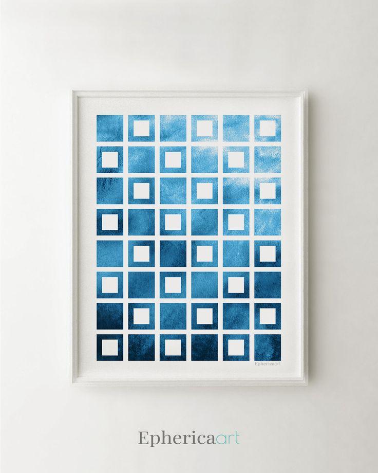 Navy blue wall art blue abstract art navy blue print art blue geometric
