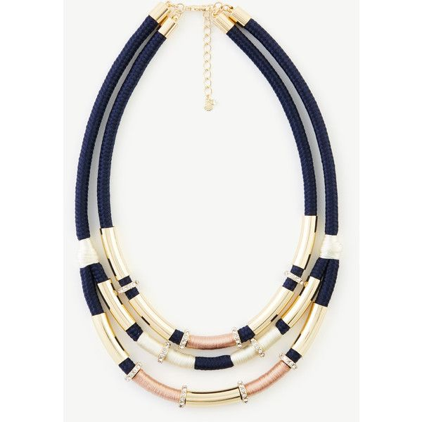 Ann Taylor Threaded Pave Statement Necklace (5.455 RUB) found on Polyvore featuring women's fashion, jewelry, necklaces, navy blue, sparkly statement necklace, navy blue necklace, navy necklace, geometric statement necklace and pave jewelry