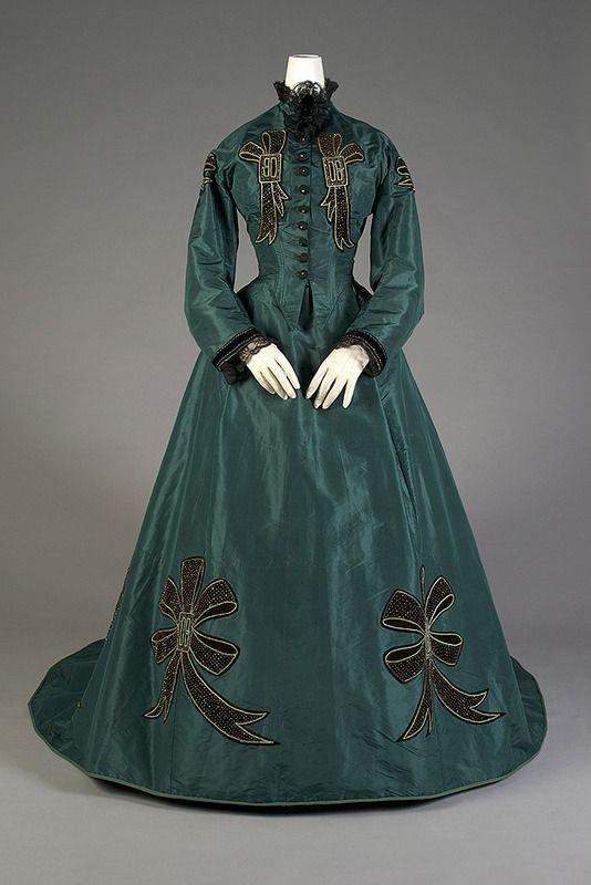 Appliqued Taffeta Dress, ca. 1860s