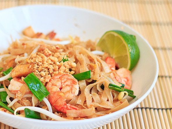 Pad Thai w/ step by step pictures. Make sure your wok is as hot as you can get it.