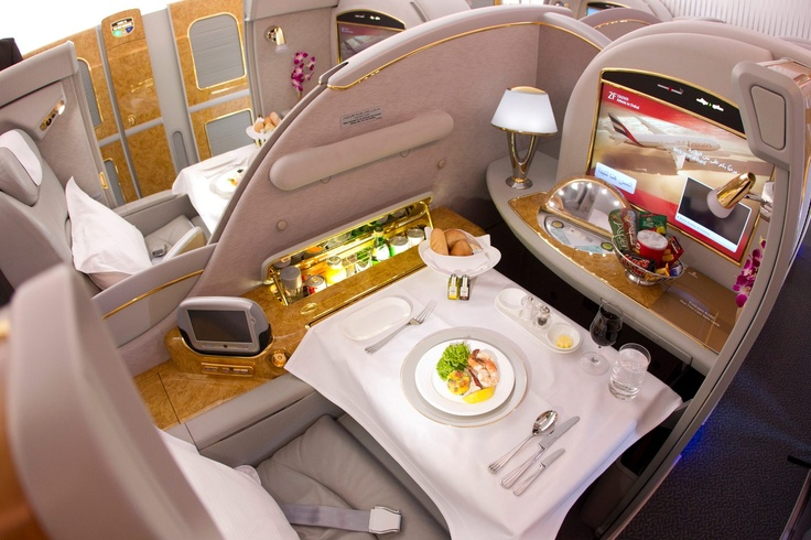 Emirates first class to Dubai.  One day ...