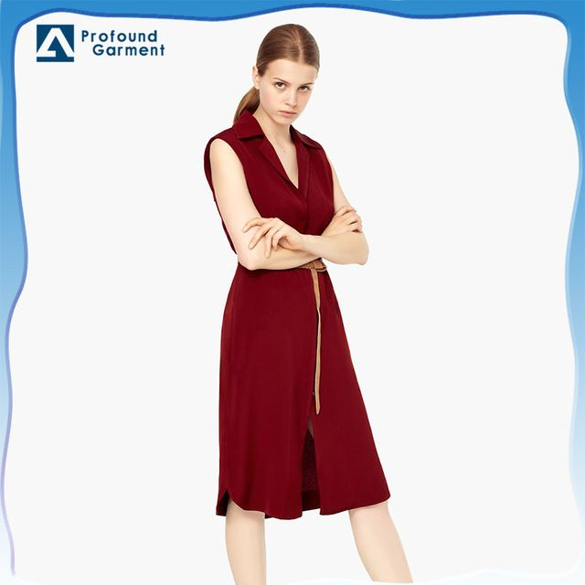 Source sleeveless waist belt elegant office dress for ladies 2016 on m.alibaba.com