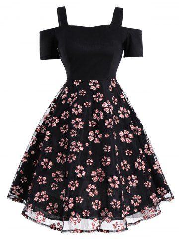 Mesh Panel Floral Vintage Fit and Flare Dress