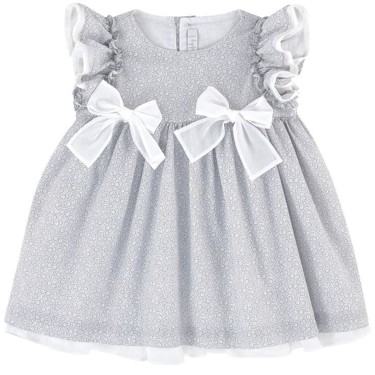 Crisp poplin Fine cotton lining Crew neck Sleeveless Flounces on the shoulders Pleats under the chest Very flared bottom Loose fit Buttons in the back Fancy bows Fancy print - 118.99 €