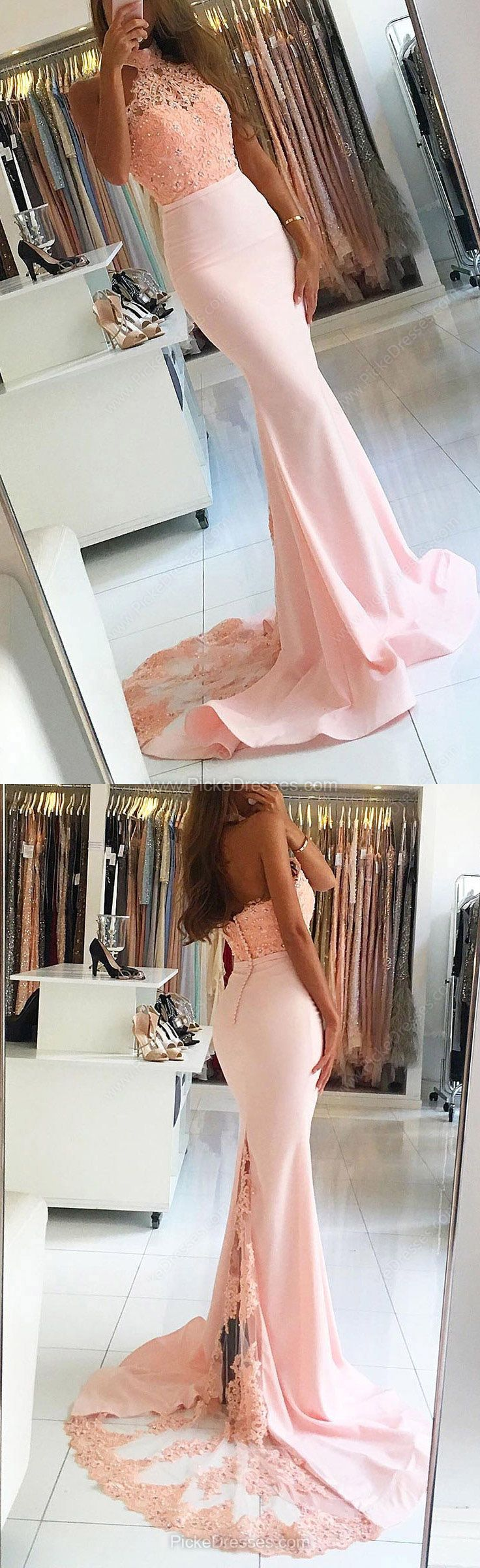 Lace Prom Dresses,Pink Prom Dresses,Long Prom Dresses Trumpet/Mermaid, Halter Prom Dresses Jersey Appliques #lacedress