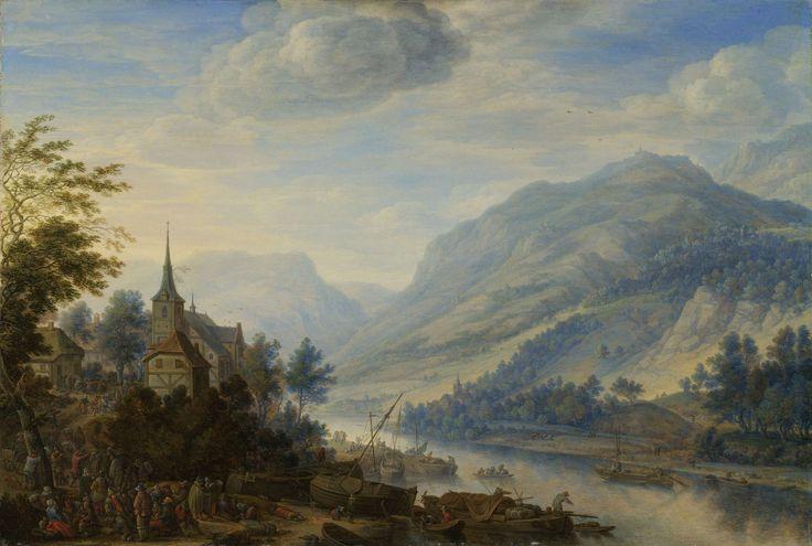 Herman Saftleven | View of the Rhine River near Reineck, Herman Saftleven, 1654 | Rivierlandschap met een gezicht op de Rijn bij Reineck. Grote drukte van mensen en boten bij de aanlegplaats op de rivieroever. Links het dorp Reineck met de kerk en dansende mensen voor een herberg.