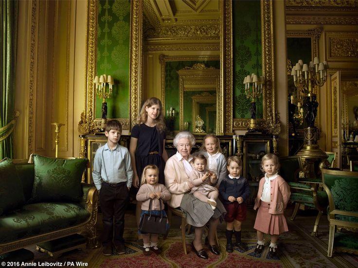 Queen Elizabeth & her two youngest grandchildren & five great grandchildren by Annie Leibovitz