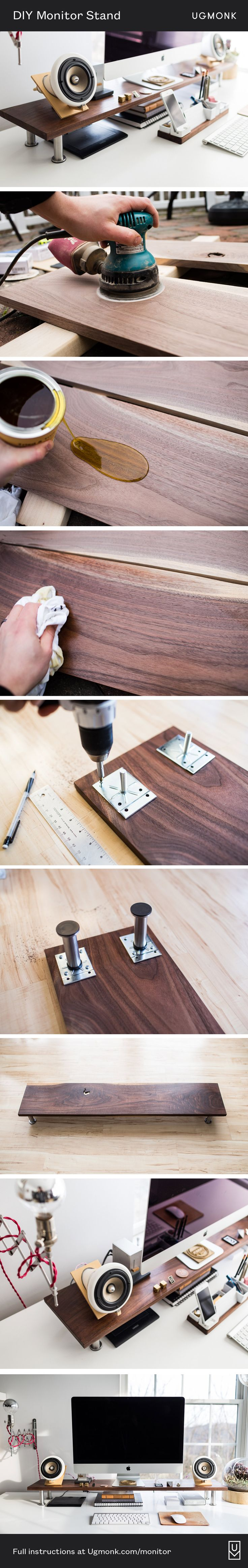Ugmonk | Simple and easy DIY wood monitor stand for better ergonomics and storage space. Detailed instructions in the post: http://ugmonk.com/2017/02/23/my-diy-monitor-stand/
