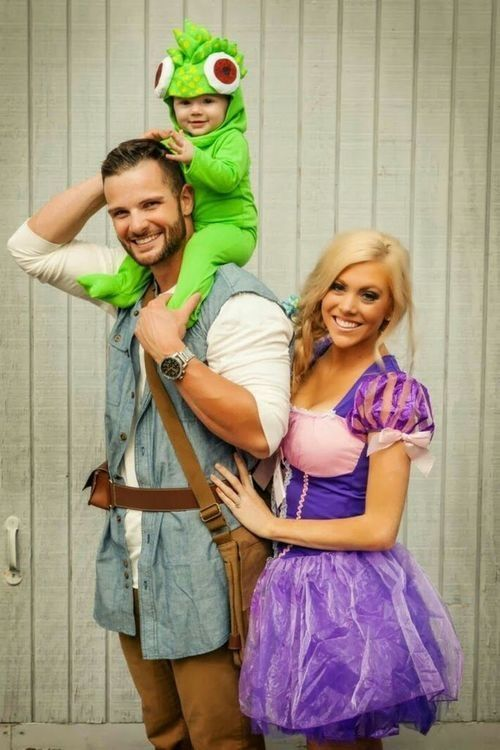 Rapunzel, Pascal and Flynn Rider from Disney's Tangled. Cute family Halloween costume.