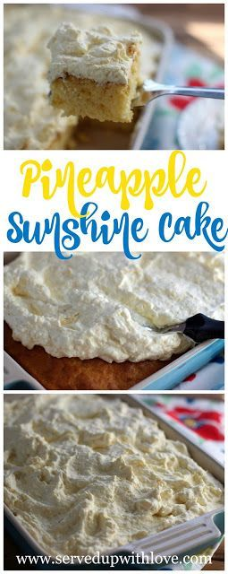Pineapple Sunshine Cake recipe from Served Up With Love. A super simple cake recipe that is takes on a whole new level of flavor. And that icing!!  http://www.servedupwithlove.com