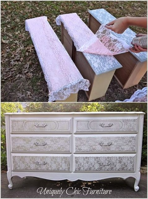 An Old Dresser Got a Stunning Lace Makeover.   This is just beautiful. Definitely going to do this.