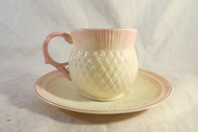 $33 BELLEEK POTTERY IRELAND Thistle Teacup and Saucer Pink White & Gold Trim