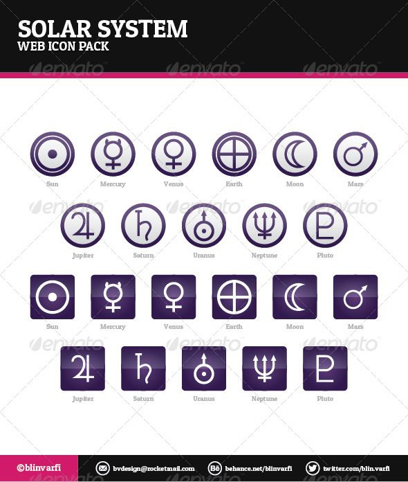 Solar System Icons  #GraphicRiver         Solar System Icons – Web Icons  Solar System Icons are a pack of 22 icons which can go along with your website very well.  Icon pack includes:   Eleven (11) unique symbols used on two (2) types of icon shapes: Sun, Mercury, Venus, Earth, Moon, Mars, Jupiter, Saturn, Uranus, Neptune, Pluto.   Icons provided in these formats:   AI Illustrator.  EPS Vector.  JPEG 1025px, each icon separated.  PNG with transparent background 256px, 128px, 64px and 32px…