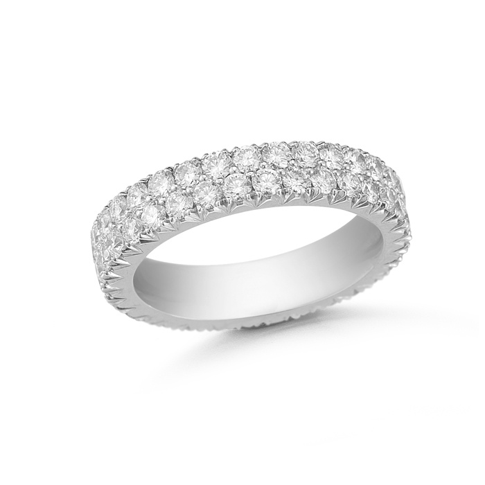 Double Row 3 Point Micro Pave Wedding Band