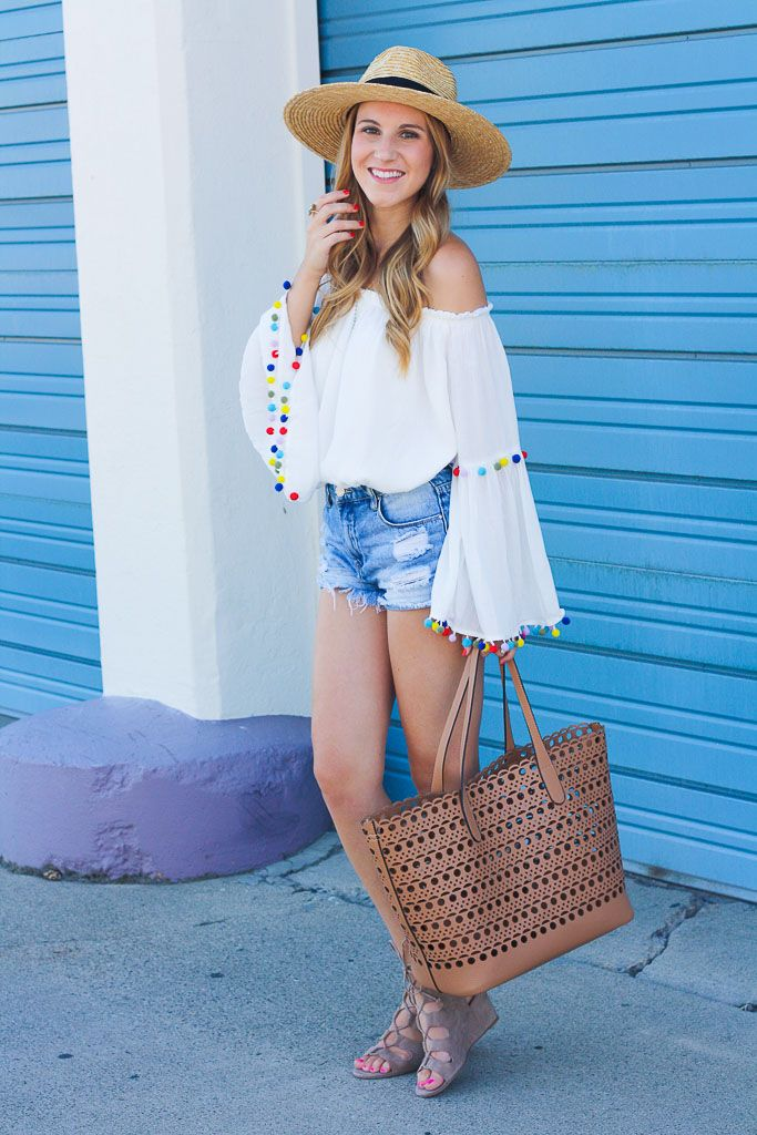 Off the Shoulder Pom Pom Top | Twenties Girl Style