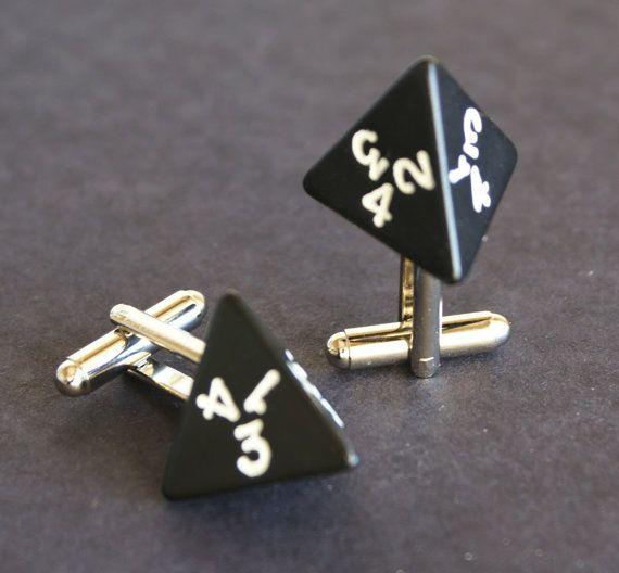 Black 4 Sided Dice Cufflinks