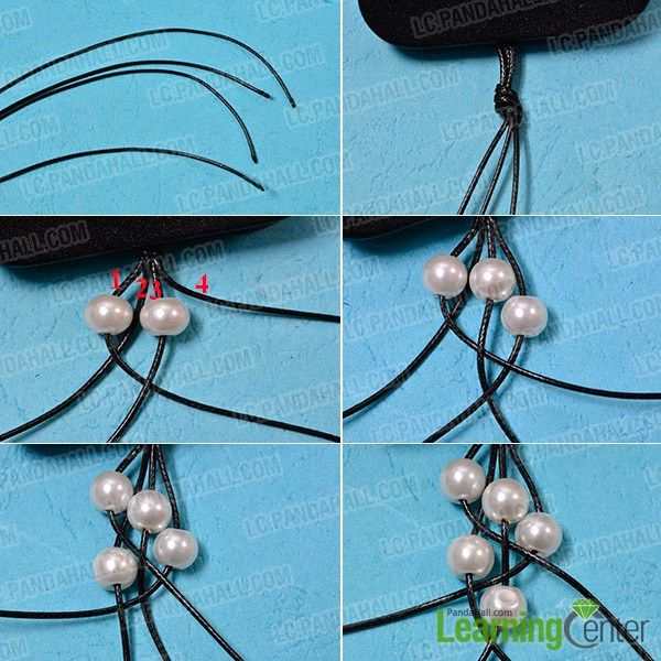 make the first part of the leather cord braided pearl bracelet