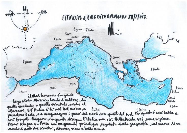 """L'architetto, intervistato da Repubblica, ci regala un suo disegno del Mediterraneo. E chiede ai lettori di immaginare e metterci la vostra Italia """"come vi piace"""". Ecco il suo messaggio. Il Mediterraneo è un grande lago salato. Anzi un brodo di culture, da quelle nordiche a quelle orientali, arabe …"""