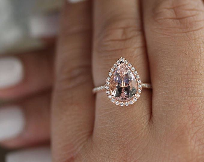Engagement Ring 14k Rose Gold Morganite Pear 12x8mm and Diamond Halo Ring, Bridal Ring, Peach Pink Morganite Pear Wedding Ring, Promise Ring