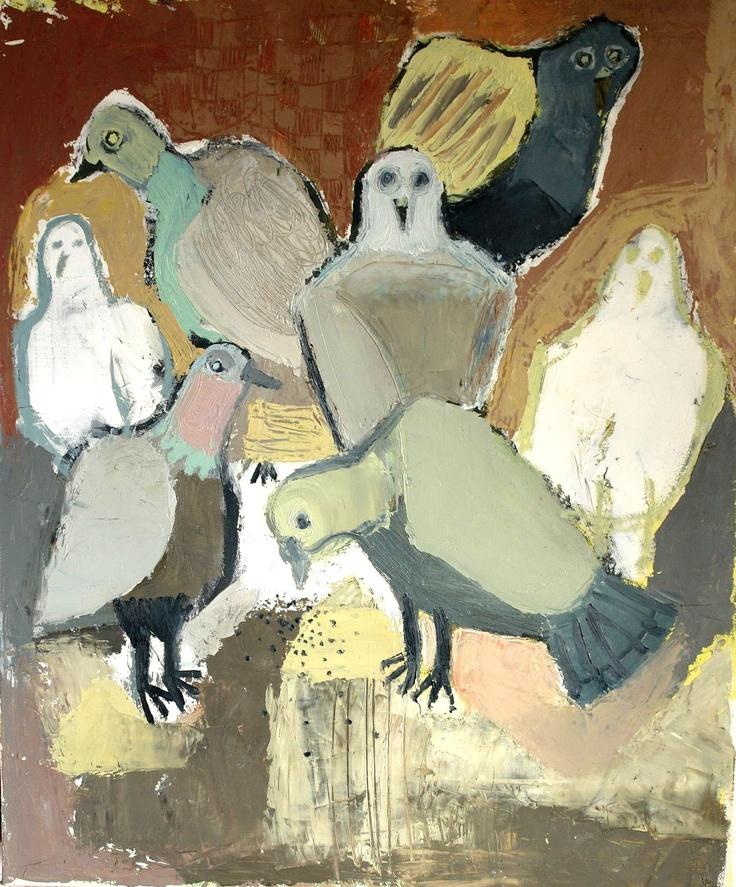 "PERSEFI ESKES (TRENDAFILA TRENDAFILOVA): ""clustered birds"" (oil on canvas)"