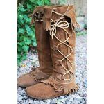 free tall leather moccasin patterns | VTG TALL TAOS Moccasin BOOTS Hippie Lace UP LEATHER (06/28/2009)...