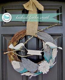 Handmade feathers made into a beautiful bird wreath.: Handmade Feathers, Embroidery Floss, Yarns Feathers, Birds Wreaths, Blue Skies, Feathers Tutorials, Feathers Wreaths, Diy Feathers, Crafts