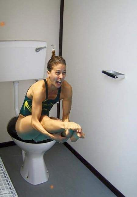 Olympic divers on the toilet.