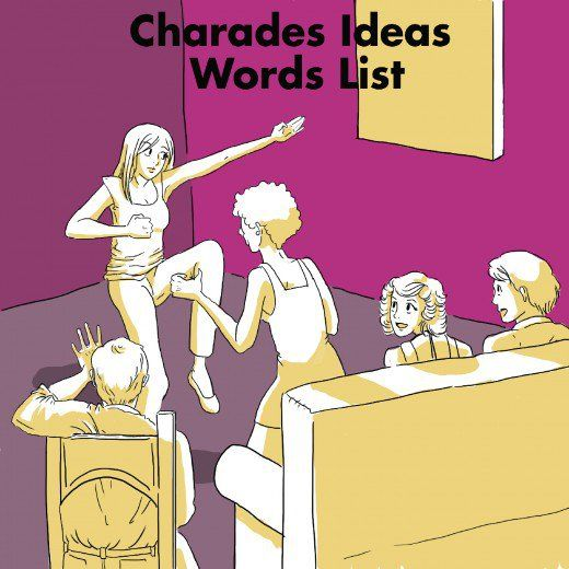 A big list of charades topics and words lists, including books, movies, celebrities, fictional characters, objects, and actions. Charades words list. The rules of Charades are also explained.