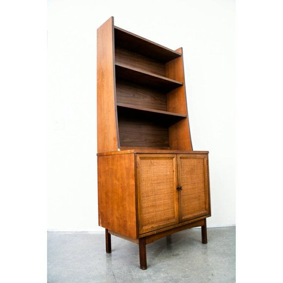 Milieu du siècle moderne armoire étagère Chine huche Vintage rangement danois petit rotin rangement étagères bibliothèque livraison gratuite
