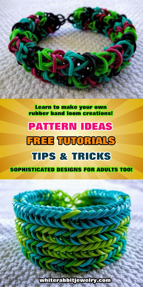So much stuff here! Rainbow Loom color patterns, how-to instructions, video tutorials, tips and tricks. All free. Great ideas for adult jewelry too. #rainbowloom #rubberband