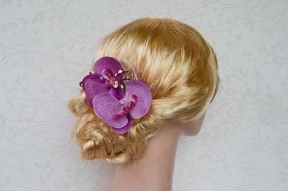 Beach bridal hair clip Fuchsia hairpiece Bridal by LumilinA