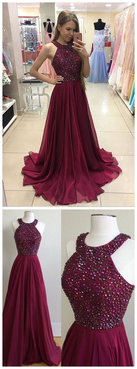 Burgundy Chiffon 2017 Prom Dress,Long Formal Dress,Senior Prom Gown,Beaded Party Dress
