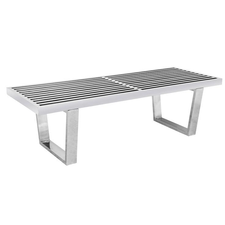 LeisureMod Inwood Stainless Steel 4-foot Bench