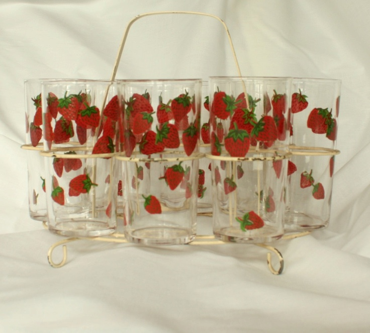 Vintage Strawberry Glasses With Caddy