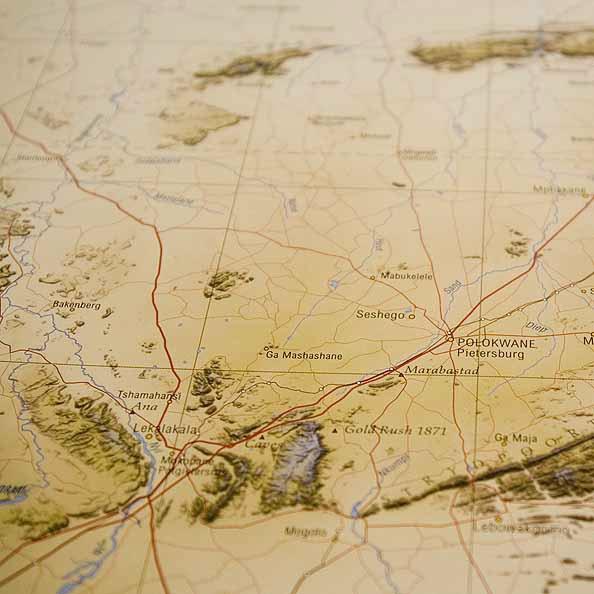 Detail from South Africa map: ver verlate vlaktes, waar die kranse antwoord gee