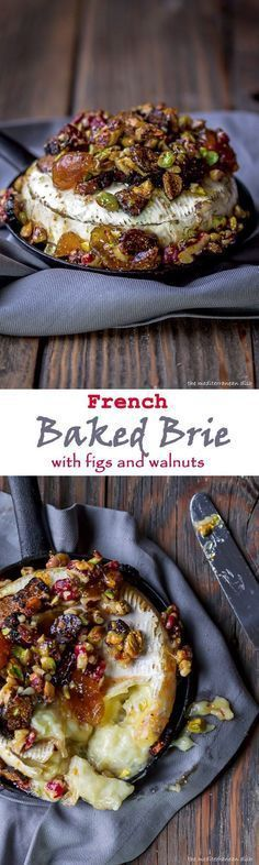 French Baked Brie Recipe with Figs Walnuts and Pistachios from The Mediterranean Dish. An easy 15-minute sweet nutty